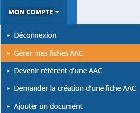 Gérer mes fiches descriptives des AAC